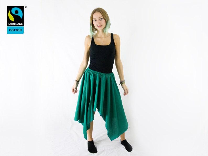 fairtrade skirt green asymmetric with lappet fair vegan image 0
