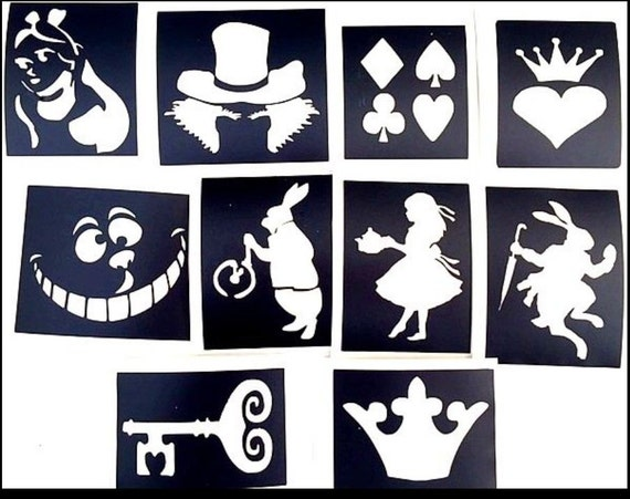 Glitter Tattoo Stencils Alice In Wonderland Pack Professional Etsy