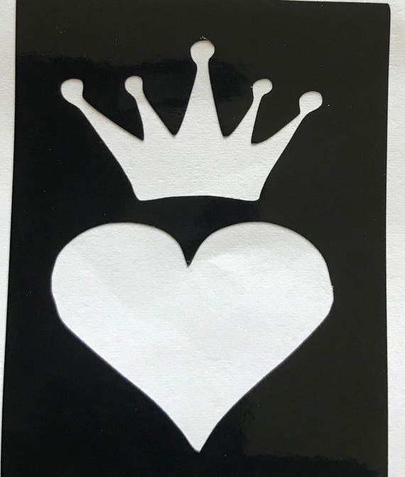 5 X Corazón Y Corona Plantillas Para Tatuajes Del Brillo Etsy