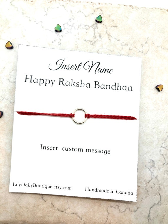 PERSONALIZED Rakhi For Brother Raksha Bandhan Card Rakhi Card Rakhi For Kids Gift For Brother From Sister Red String Rakhi Bracelet