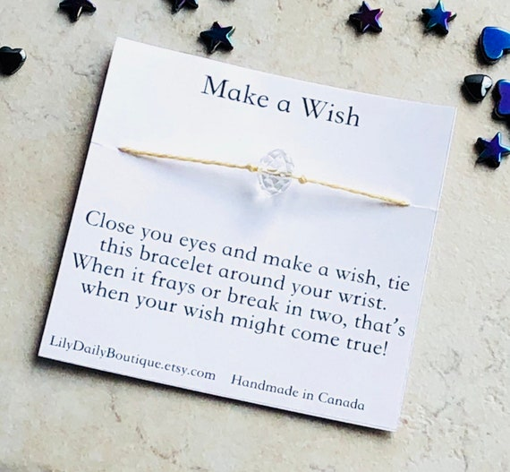 Crystal String Bracelet Birthday Gifts For Women Make A Wish Bracelet Inspirational Quotes Gift Quinceanera Favors 13th Birthday Favors