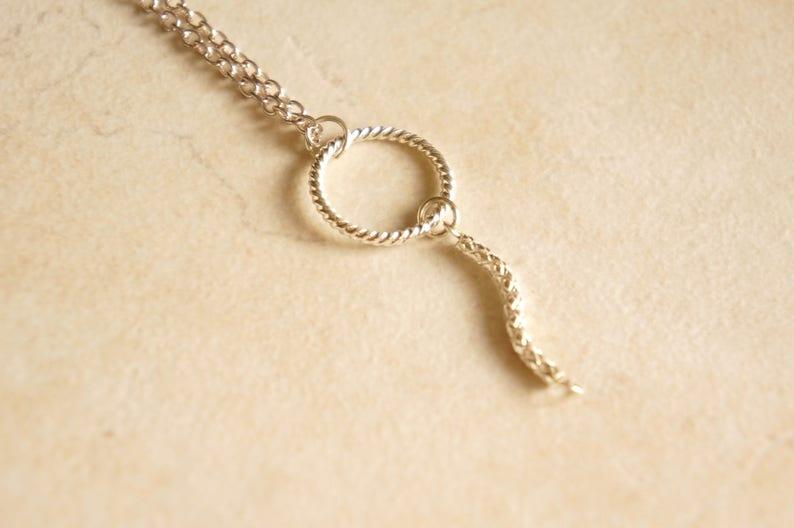 Minimalist Necklace Best Sterling Silver Circle Necklace VERTICAL BAR NECKLACE Everyday Necklace Karma Necklace Silver Halo Necklace