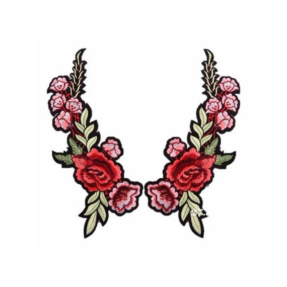 Floral Embroidery Patches Embroidered Roses DIY Sew on Iron On Patch valentines day