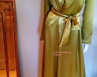 Blue Silk robe Long silk robe silk dressing gown long silk