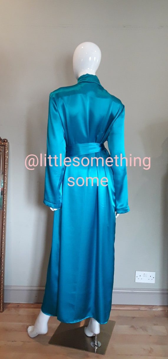 Dressing gown Long silk blue dressing gown Ladies dressing gown Womens dressing gown Pure silk dressing gown Long silk robe Ladies silk UK