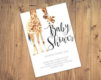 Giraffe Baby Shower Invite 5x7
