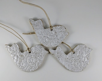 Ceramic White Bird Ornaments/Gift Tags, Set of Three