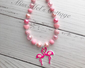 Pink Flamingo Love Mini 12mm  Beads Necklace/ladies/girls/summer
