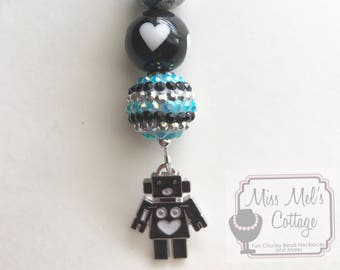 Robot Zipper Pull Charm for Backpacks/Bags/keychain with fun chunky beads accent/i love robots/planner charm