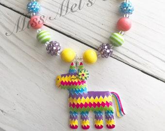 Fun and Festive Pinata Mini (12mm) Bubblegum Beads Necklace/Spanish/Teacher/Fiesta/Cinco de Mayo/Party/Gift