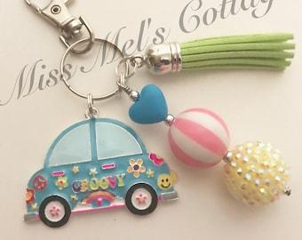 Feeling Groovy 70's Volkswagon Beetle Love Bug Chunky Bubblegum Beads Keychain/Zipper Charm and tassel