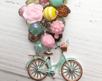 Charming, Pastel, Vintage, Bicycle Charm/beaded/Keychain/zipper/purse/planner/bag/car/mirror/charm/bike/bicycle/gift