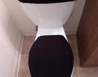Black Solid Fleece Toilet Lid & Tank Cover Set
