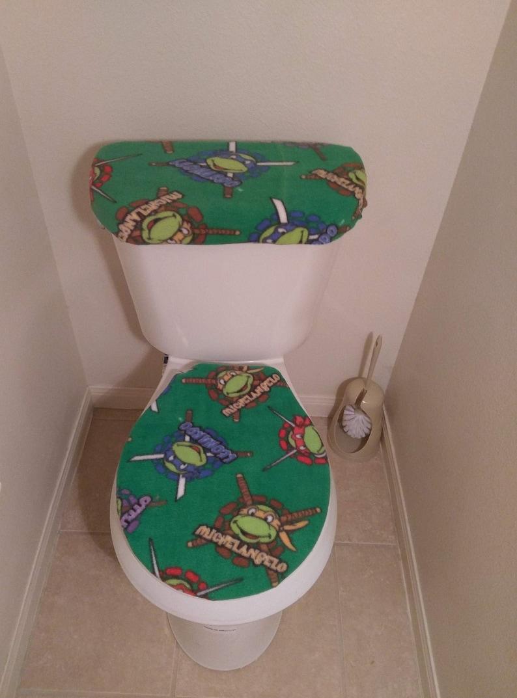Ninja Turtles Fleece Toilet Seat Cover Set Bathroom Accessories