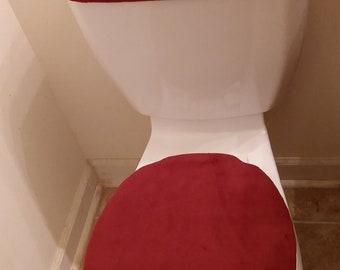 Multi-Colored  Fleece Toilet Lid & Tank Top Cover Set