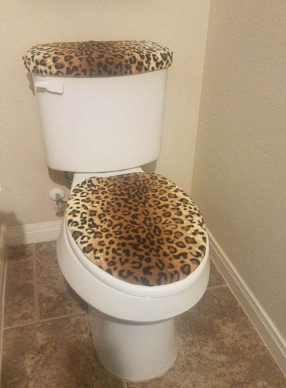 Awesome Leopard Print Fleece Fabric Toilet Seat Cover Set Bathroom Accessories 2Pc Gmtry Best Dining Table And Chair Ideas Images Gmtryco
