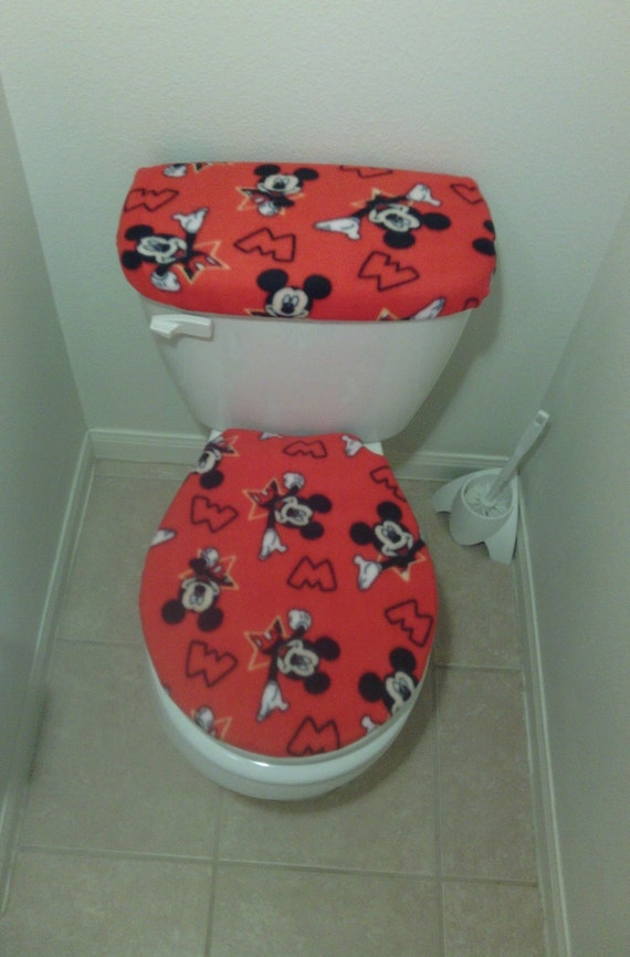 Awesome Mickey Mouse Red Fleece Fabric Toilet Seat Cover Set Bathroom Accessories 2Pc Machost Co Dining Chair Design Ideas Machostcouk
