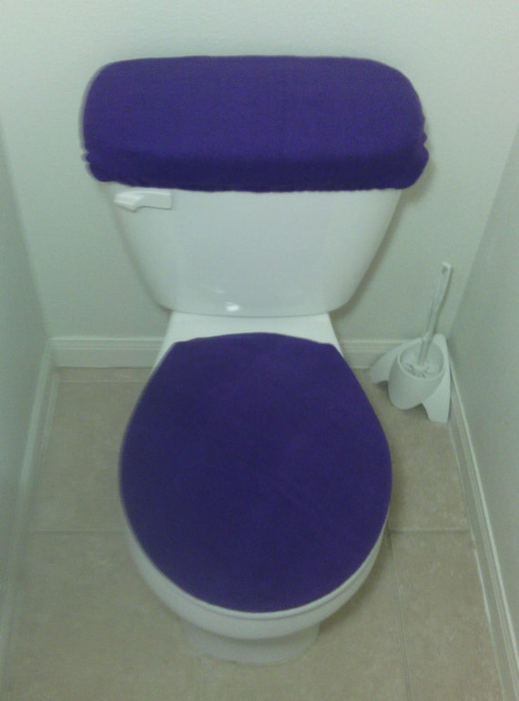 Blue Mossy Oak Fleece Fabric Toilet Seat Cover Set Bathroom Accessories