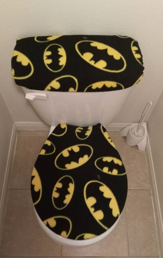 Amazing Batman Large Logo Symbol Fleece Fabric Toilet Seat Cover Set Bathroom Accessories 2Pc Creativecarmelina Interior Chair Design Creativecarmelinacom
