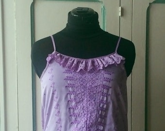 purple embroidered t-shirt