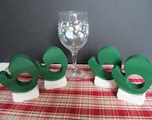 Set of 4 Hand Made Hand Painted Christmas Holiday Mitten Napkin rings holders