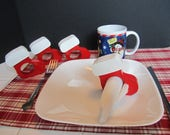 Set of 4 Hand Made Hand Painted Christmas Holiday Stocking Napkin rings holders