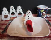 Set of 4 Hand Made Hand Painted Christmas Holiday Snowman Napkin rings holders
