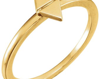 Custom Solid 14 Karat Rose, White or Yellow Gold Geometric Stackable Ring
