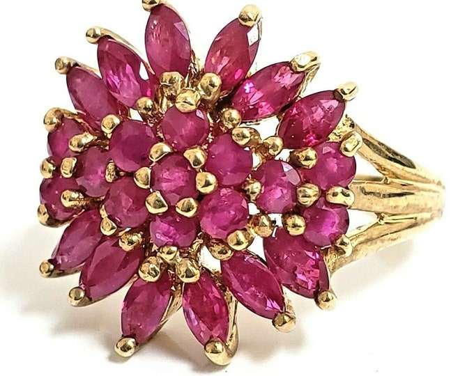 Gorgeous Vintage Handmade 10 Karat Yellow Gold 3.00 CTW Ruby Cluster Cocktail Ring #VR57