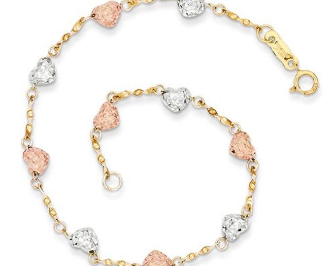 "Gorgeous 14 Karat Tri-Color White, Rose & Yellow Gold Puff Heart Diamond Cut 7"" Inch Bracelet."