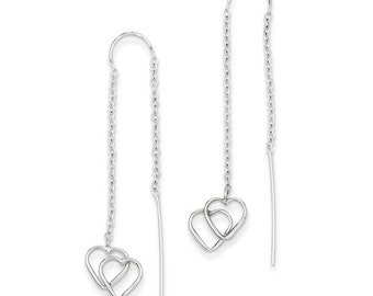 Beautiful 14 Karat White Gold Double Heart Threader Earrings