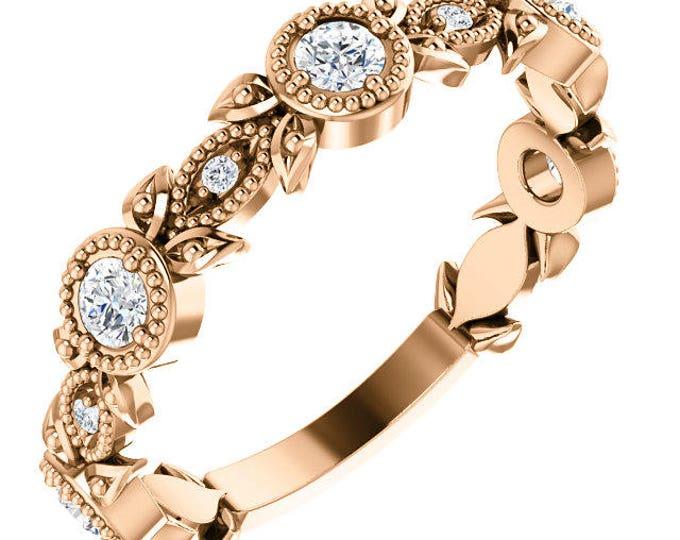 Customizable  Solid 14 Karat Rose, White or Yellow Gold Natural Gemstone & Diamond Stackable Floral Ring
