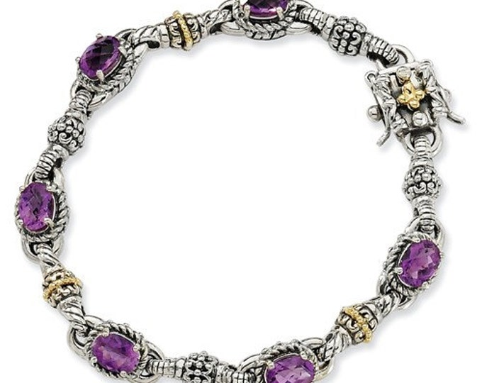 Beautiful Handcrafted 925 Sterling Silver w/14k Amethyst Bracelet