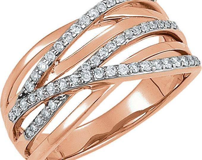 Beautiful 14 Karat Rose & White Gold 1/3 CTW Diamond Ring