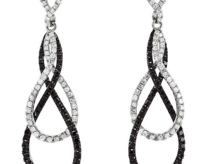 Stunning 14 Karat White 1 1/2 CTW Black & White Diamond Drop Dangle Earrings