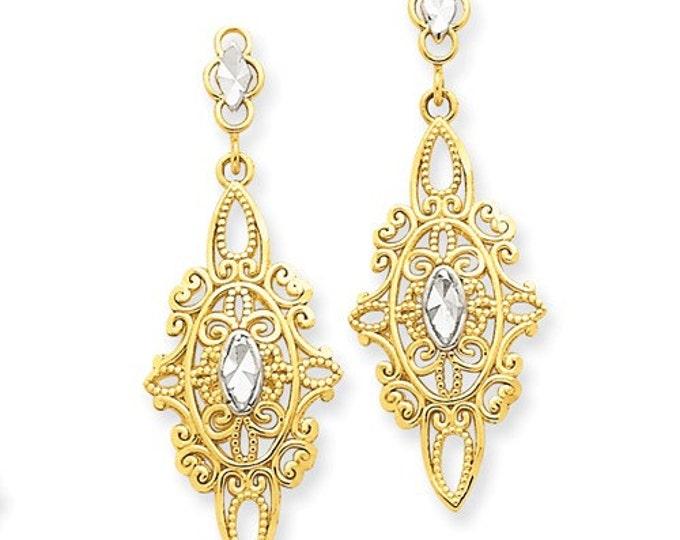 Beautiful 14 Karat Yellow & White Gold Diamond-cut Filigree Dangle Earrings