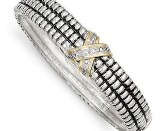 Beautiful 925 Sterling Silver w/14k 1/15ct Diamond Bangle Bracelet