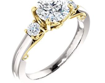 Gorgeous Custom Handcrafted 14 Karat White & Yellow  Diamond Engagement Ring GIA Graded