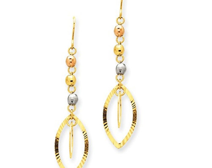Stunning 14 Karat Yellow, White and Rose Gold Tri-Color Bead & Yellow Oval Dangle Earrings