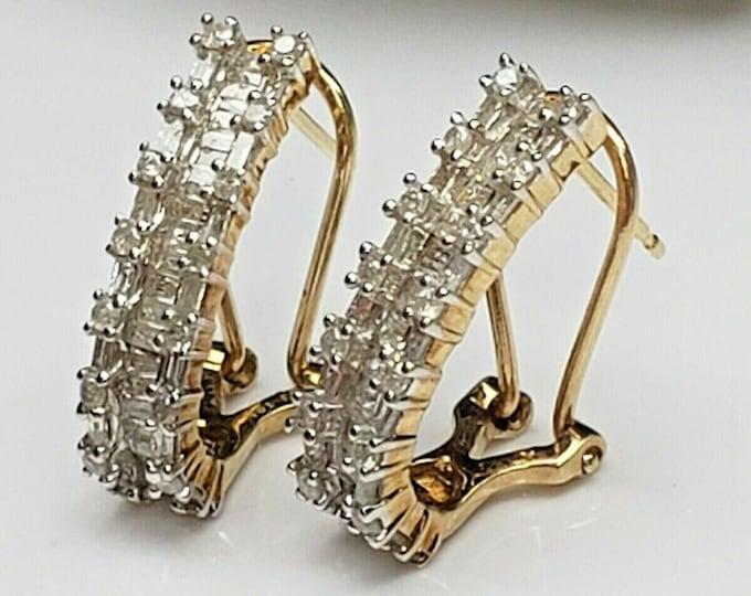 Handcrafted 14 Karat Yellow Gold 2.00 CTW Diamond Omega J Hoop Earrings.