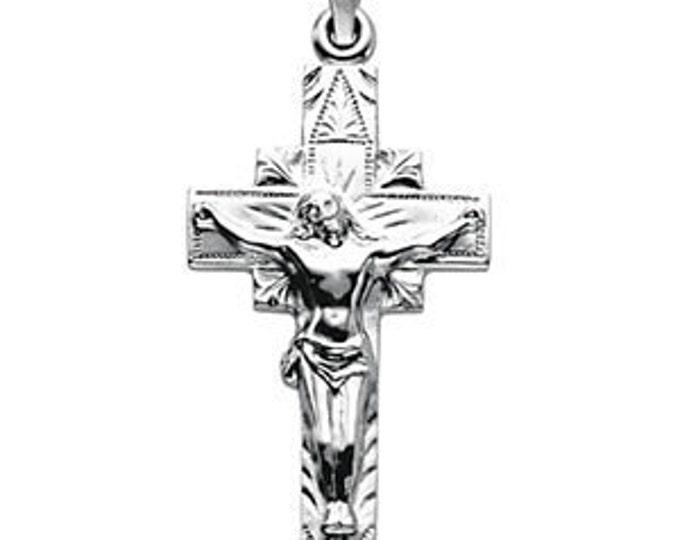 Custom 14 Karat Yellow or White Gold 29.00X16.50mm Crucifix Pendant
