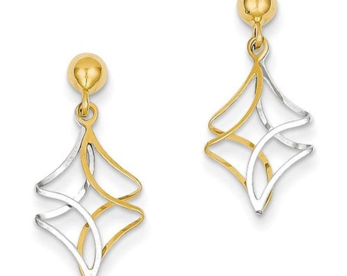 14 Karat Yeloow & White Gold Two-tone Post Dangle Earrings
