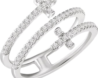 Gorgeous 14 Karat White 3/8 CTW Diamond Sideways Double Cross Ring