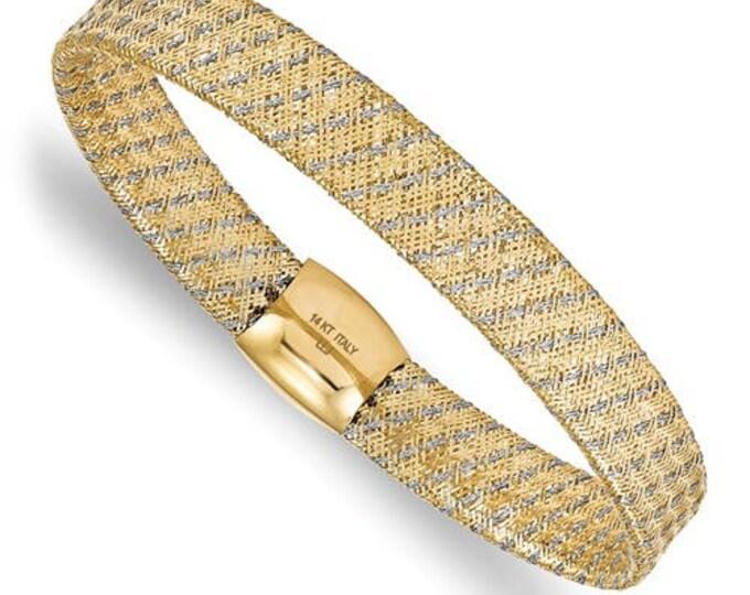 Beautiful Wide Two Tone 14 Karat Yellow & White Gold Fancy Stretch  Bangle Bracelet