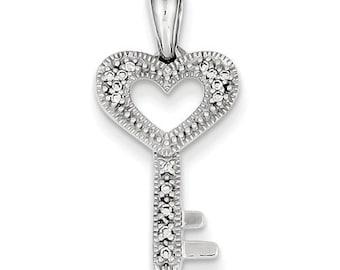 14 Karat White Gold Diamond Heart Key Pendant
