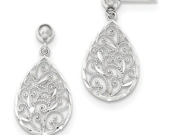 Beautiful 14 Karat White Gold Diamond-cut Filigree Dangle Earrings