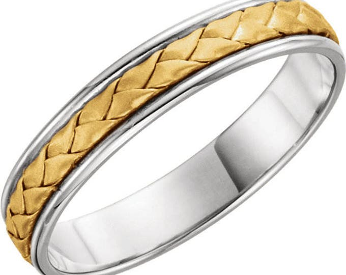 Custom 14 Karat White & Yellow Gold 4mm Hand-Woven Band
