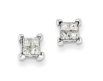 Gorgeous 14 Karat White Gold 7mm Screw back 4 stone Princess Cut Diamond Stud Earrings.