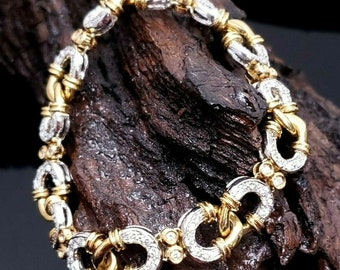 Gorgeous Custom Handmade Italian 11.75mm 18K Two Tone Gold VS E-F 2.50 CTW Diamond Infinity Link Bracelet.