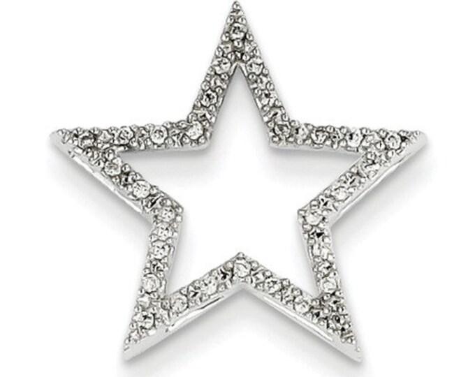 14 Karat White Gold Small Diamond Star Chain Slide Pendant.